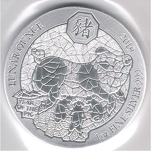 Ruanda, 50 Francs plata ( 1 OZ. 999 mls. ) Año del Cerdo 2019