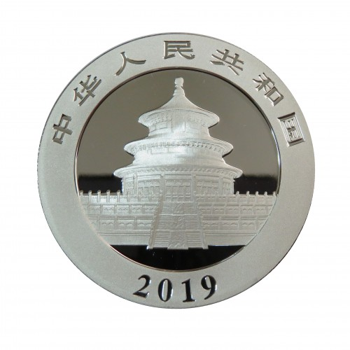 China, 10 Yuan ( 30 grs. Plata 999 mls. ) 2019 Panda coloreado, Tejado.