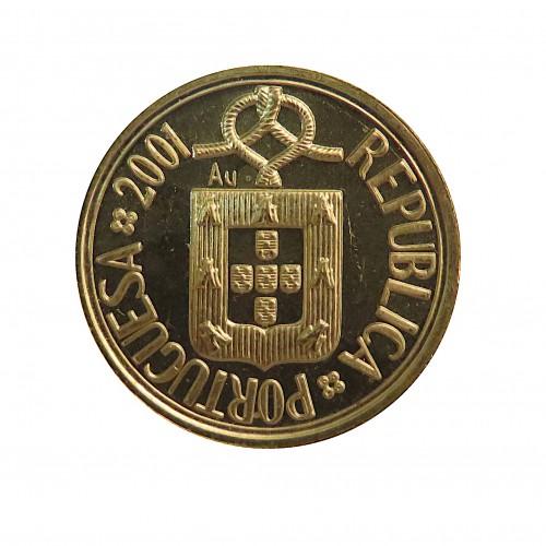 Portugal, Escudo Oro ( 4,6 gramos, Ley de 917 mls. ), 2001 Estuche + Certificado.