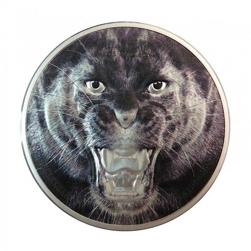 Tanzania, 1500 Shillings Plata ( 2 OZ.  999 mls. ) Pantera Negra. Muy rara.