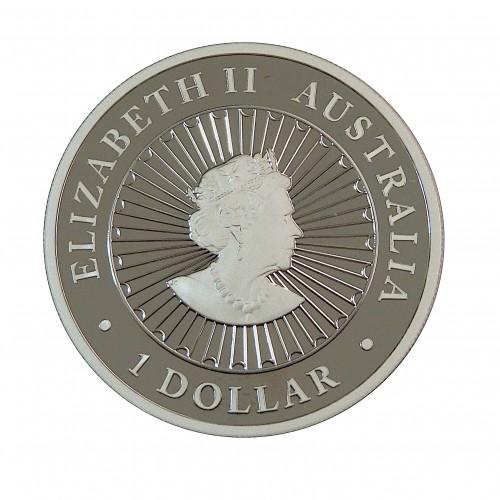 Australia, Dollar Plata ( 1 OZ, 999 mls. ) Serie Lunar Ópalo, PROOF 2019.