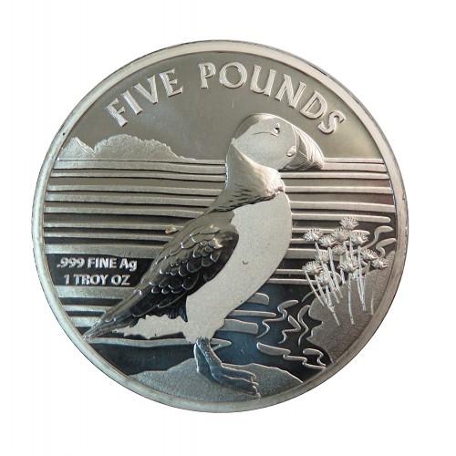 Alderney, 5 Pounds plata (1 OZ. 999 mls) Frailecillo 2019 BU