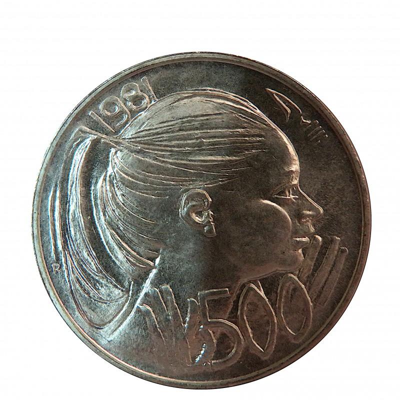 San Marino, 500 Liras plata, 1981, sin circular.