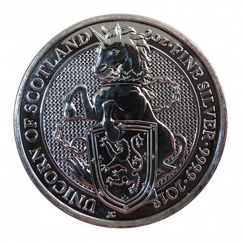 Gran Bretaña, 5 Pounds Plata ( 2 OZ. 999 mls. ) serie Bestias, Unicornio Escocia, BU.