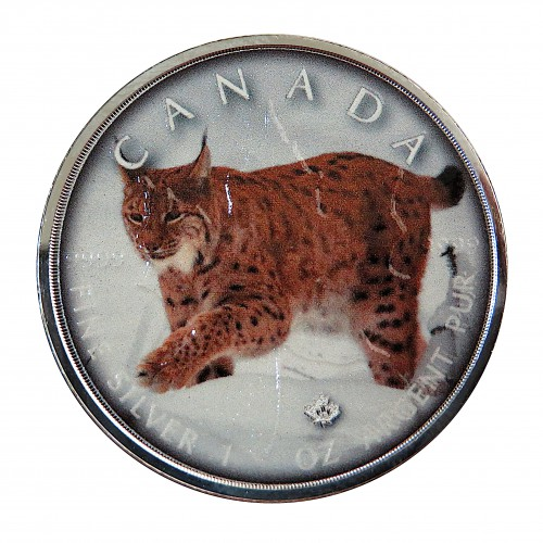 """Canadá, 5 $ Plata ( 1 OZ. 9999 mls. ), Maple serie """"On the Trails of Wildlife: Lince"""" 2019."""