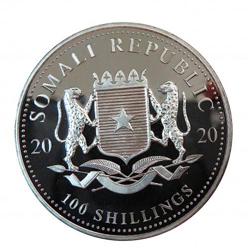 Somalia, 100 Shilling Plata ( 1 OZ. 999 mls. ), Elefantes 2020, BU.