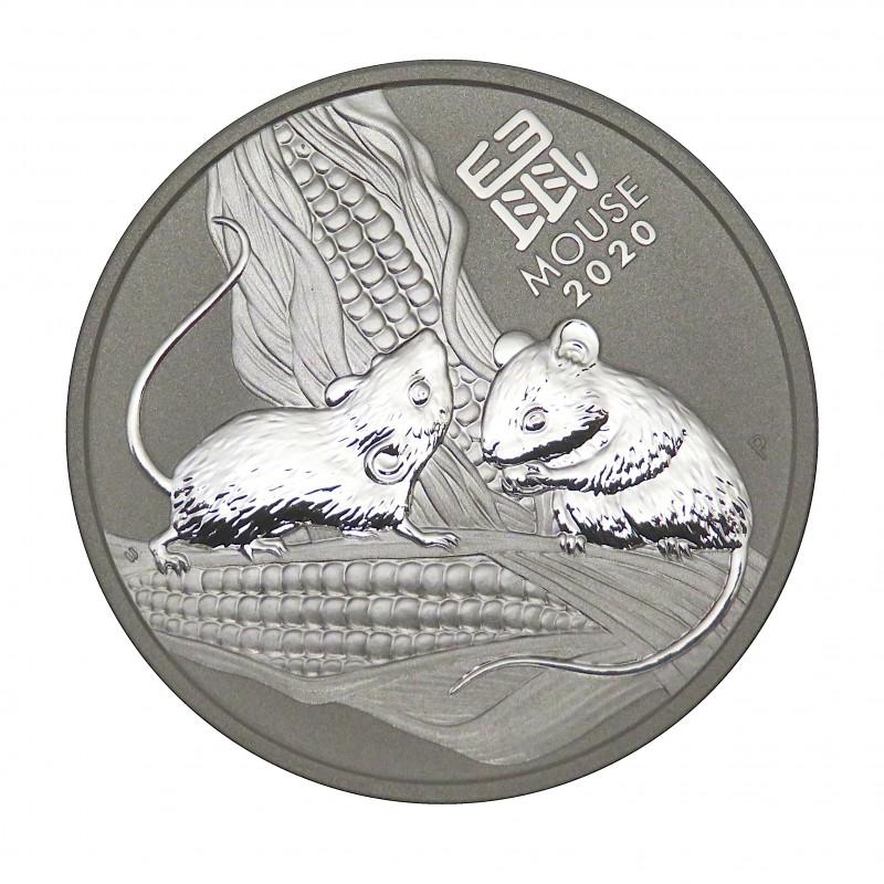 Australia, 1 $ Plata ( 1 OZ. 9999 mls. ) Año de la Rata III, 2020, BU.