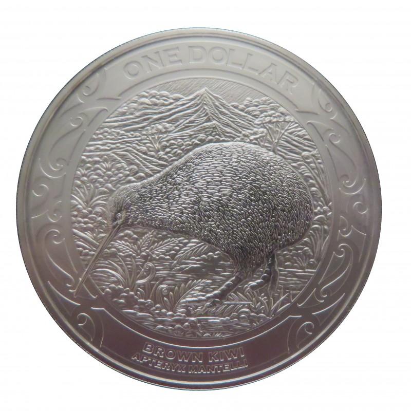 Nueva Zelanda, One Dollar Plata ( 1 OZ. 999 mls. ) 2019, Brown kiwi, BU,blister.