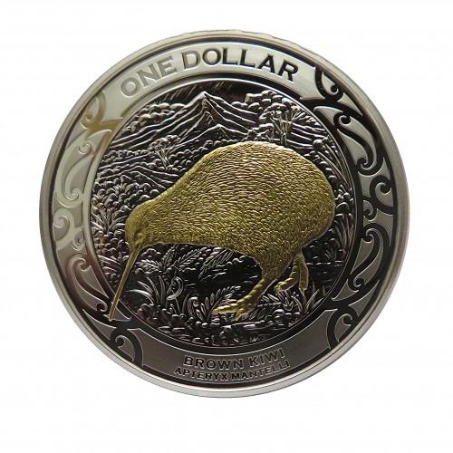 Nueva Zelanda, Dollar plata ( 1 OZ. 999 mls. ) 2019, Brown Kiwi, Proof.
