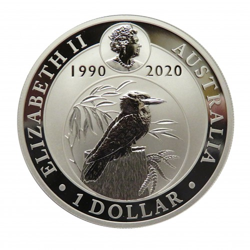 Austalia, 1 $ Plata ( 1 OZ.  9999 mls. ) Kookaburra 2020 XXX Aniv.
