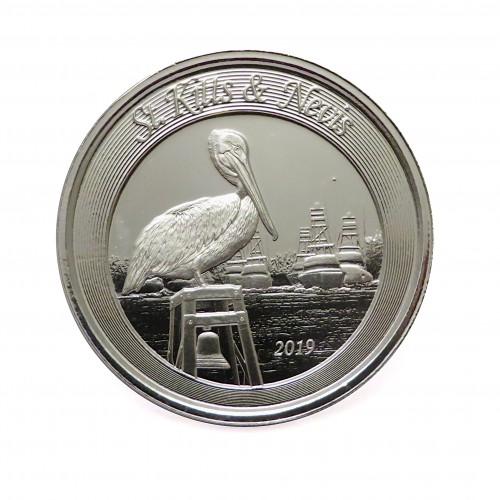 ST. Kitts & Nevis, 2 $ Plata ( 1 OZ 999 mls. ) 2019, Pelícano Marrón II.