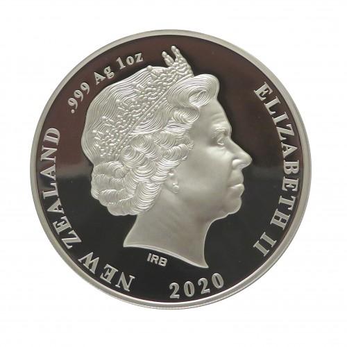 Nueva Zelanda, Dollar Plata ( 1 OZ. 999 mls. ) 2020 Kiwi Rowi, PROOF.