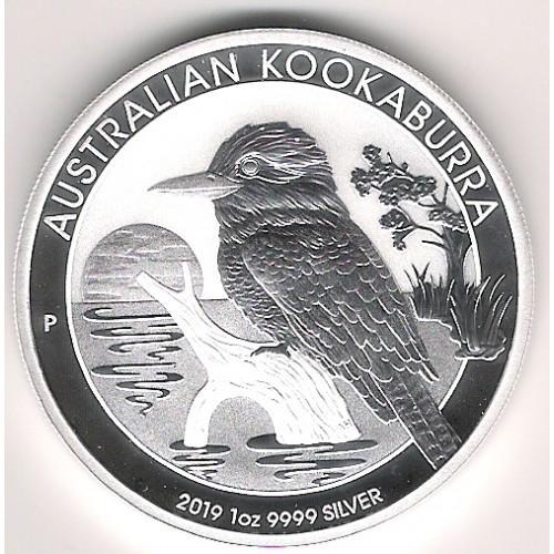 Australia, 1 $ Plata ( 1 OZ. 999 mls. ) Kookaburra 2019