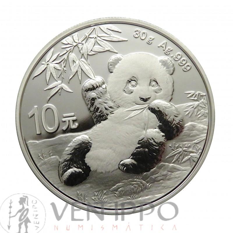China 10 Yuan Plata ( 1 OZ, ley 999 milésimas ) Panda 2020, BU.