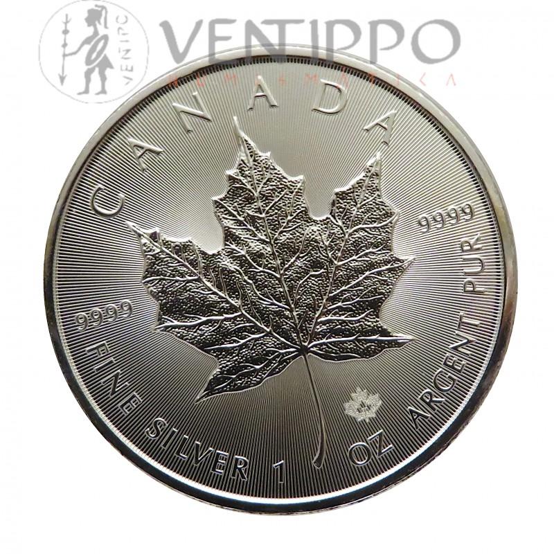 Canadá, 5 $ Plata ( 1 OZ. 9999 mls. ) Hoja de Arce 2020, S/C.