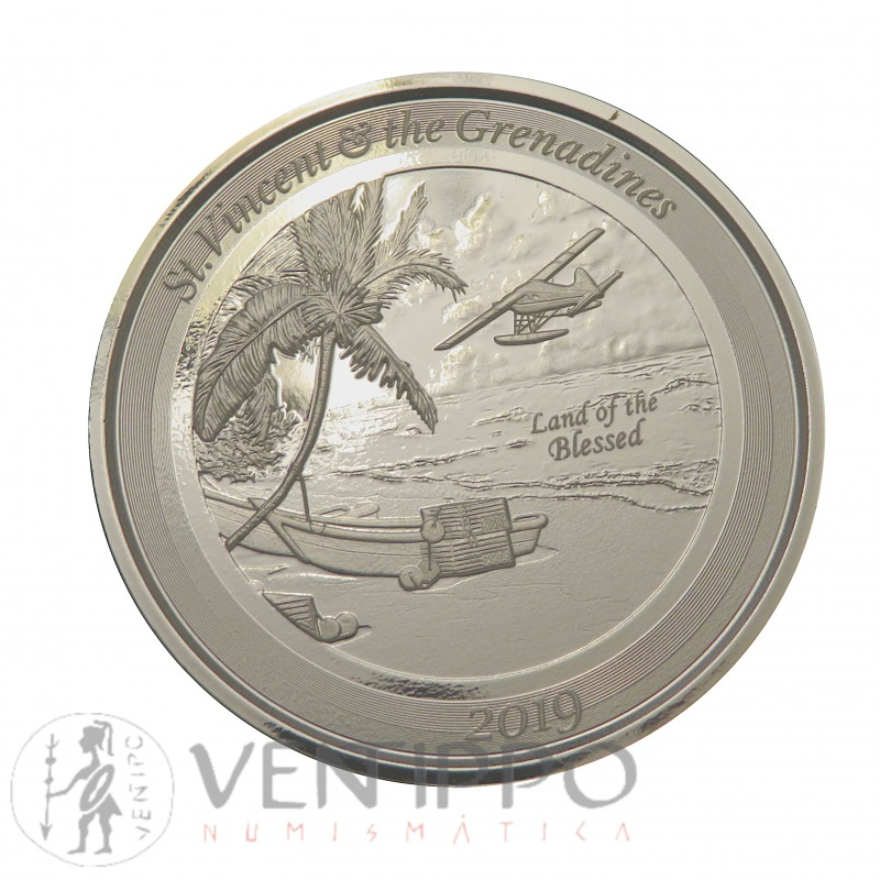 ST. Vincent and the Grenadines, 2 $ plata ( 1 OZ., 999 mls. ) Hidroavión II 2019, Prooflike.)