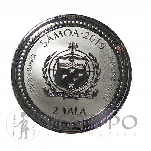 Samoa, 2 Tala Plata ( 1 OZ. 999 mls. ) 2019, Caballito de Mar, Prooflike.