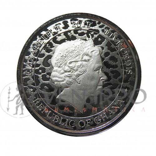 Ghana, 5 Cents Plata ( 1 OZ. 999 mls. ) Leopardo 2019, Prooflike.