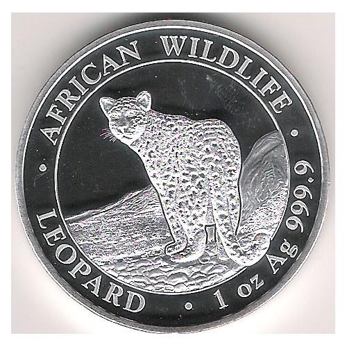 Somalia, 100 Shilling plata ( 1 OZ. 999 mls. ) Leopardo 2019 BU