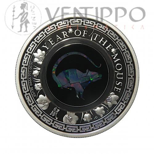 Australia, Dollar plata ( 1 OZ. 999 mls. ), serie Lunar III, Ópalo año Rata 2020