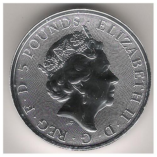 Gran Bretaña, 5 Pounds plata ( 2 OZ. 999 mls. ) Halcón de Plantagemet, BU.