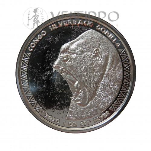 Congo, 5000 Francs plata ( 1 OZ. 999 mls. ) 2020 Gorila Espalda plateada, Prooflike.