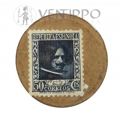 IIª República, Cartón - Moneda, 50 CTS, Velázquez (1938 )