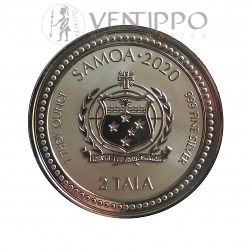 Samoa, 2 Tala Plata ( 1 OZ. 999 mls ) Serpiente 2020 Prooflike.